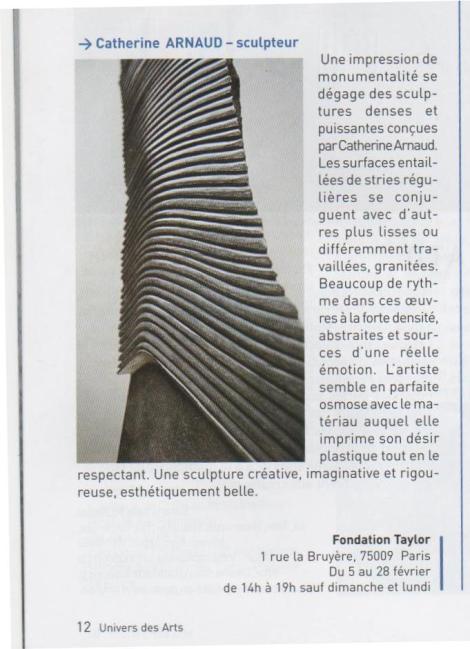 L'UNIVERS DES ARTS - FONDATION TAYLOR - Février 2009